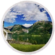 Church And Waterfall Round Beach Towel