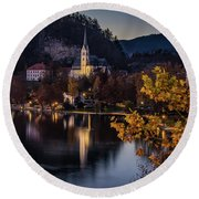 Church At Bleed Round Beach Towel