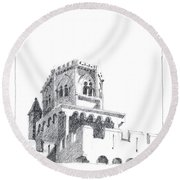 Church At Chamalieres Round Beach Towel