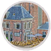 Round Beach Towel featuring the photograph Church Cafe In Groningen by Frans Blok
