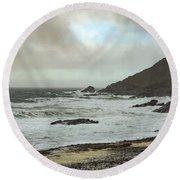 Round Beach Towel featuring the photograph Church Cove Gunwallow by Brian Roscorla