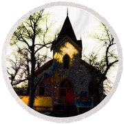Round Beach Towel featuring the digital art Church I by Stuart Turnbull