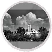 Round Beach Towel featuring the photograph Church In Black And White by Jim Walls PhotoArtist