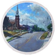 Church In Georgetown Downtown  Round Beach Towel by Ylli Haruni