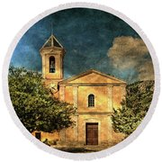 Church In Peillon Round Beach Towel