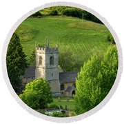 Church In The Cotswolds Round Beach Towel