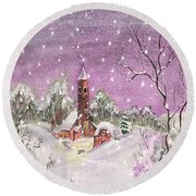 Round Beach Towel featuring the digital art Church In The Snow by Darren Cannell