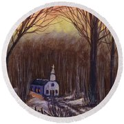 Church In The Woods  Round Beach Towel