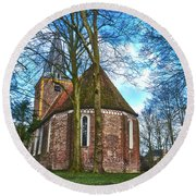 Church In Winsum Round Beach Towel