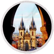 Round Beach Towel featuring the photograph Church Of Our Lady Before Tyn by Fabrizio Troiani