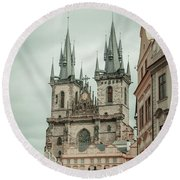 Round Beach Towel featuring the photograph Church Of Our Lady Before Tyn by Jenny Rainbow