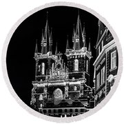 Round Beach Towel featuring the photograph Church Of Our Lady Before Tyn. Night Prague by Jenny Rainbow