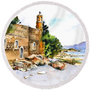 Church Of Primacy, Galilee Round Beach Towel