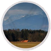 Church Of Saint James In The Village Of Hrase Round Beach Towel