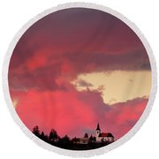 Church Of Saint Nicholas At Sunset Round Beach Towel