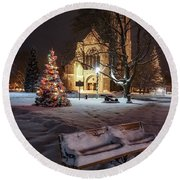 Round Beach Towel featuring the photograph Church Of St Mary St Paul At Christmas by Kendall McKernon