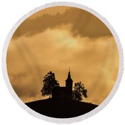 Round Beach Towel featuring the photograph Church Of St. Thomas #2 - Slovenia by Stuart Litoff