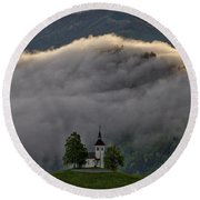 Round Beach Towel featuring the photograph Church Of St. Thomas - Slovenia by Stuart Litoff