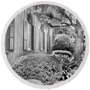 Church Of The Cross Bluffton Sc Black And White Round Beach Towel