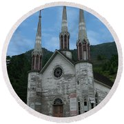 Round Beach Towel featuring the photograph Church Of The Holy Cross by Rod Wiens