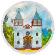 Church Of The Holy Family Round Beach Towel