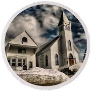 Round Beach Towel featuring the photograph Church Of The Immaculate Conception Roslyn Wa by Jeff Swan