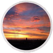 Church Steeple And City Sunrise Round Beach Towel