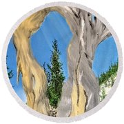 Round Beach Towel featuring the painting Church Window by Kevin Daly