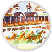 Round Beach Towel featuring the painting Churchill Downs Watercolor by Kip DeVore