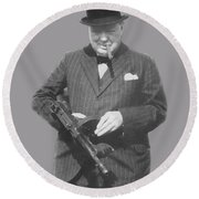 Churchill Posing With A Tommy Gun Round Beach Towel