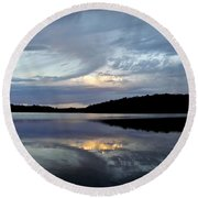 Round Beach Towel featuring the photograph Churning Clouds At Sunrise by Chris Berry
