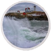 Round Beach Towel featuring the photograph Churning Seas At Cape Neddick by Rick Berk