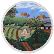 Cider Valley Round Beach Towel