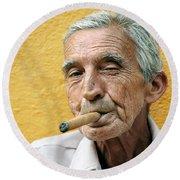Cigar Smoking - Trinidad - Cuba Round Beach Towel