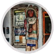 Round Beach Towel featuring the photograph Cigar Store Indian by Paul Ward