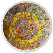 Cigar Wrapper Mandala Round Beach Towel by Mindy Newman