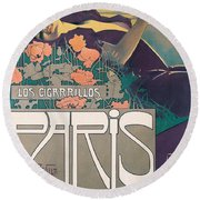 Cigarrillos Paris   Vintage Poster Round Beach Towel