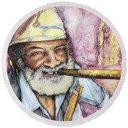 Cigars And Cuba Round Beach Towel