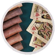 Round Beach Towel featuring the photograph Cigars And Playing Cards  by Andrey  Godyaykin
