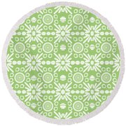 Cilantro- Green And White Art By Linda Woods Round Beach Towel