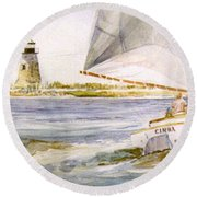 Cimba At Bird Island Light Round Beach Towel
