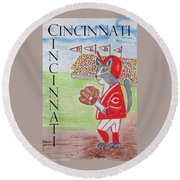 Round Beach Towel featuring the painting Cinci Reds Cat by Diane Pape