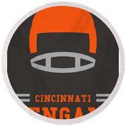 Cincinnati Bengals Vintage Art Round Beach Towel by Joe Hamilton