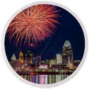 Cincinnati Fireworks Round Beach Towel