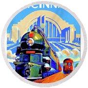 Cincinnati Railway, Trains, Travel Poster Round Beach Towel