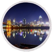 Cincinnati Reflected On Glass Round Beach Towel