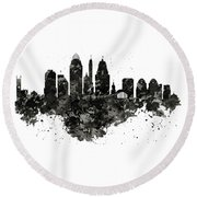 Round Beach Towel featuring the mixed media Cincinnati Skyline Black And White by Marian Voicu
