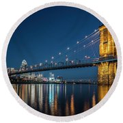 Cincinnati's Roebling Suspension Bridge At Dusk Round Beach Towel