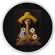 Round Beach Towel featuring the painting Cinco Margaritas by Oscar Ortiz