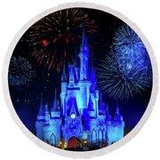 Cinderella Castle Fireworks Round Beach Towel